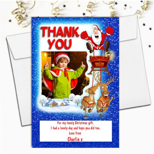 10 Personalised Christmas Xmas Thank you PHOTO Cards N44 - Santa's Sleigh